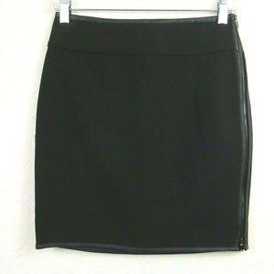 Ann Taylor Pencil Skirt 0P Black Faux Leather Trim
